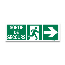 """Panneau évacuation """"sortie secours"""" + picto porte droite"""
