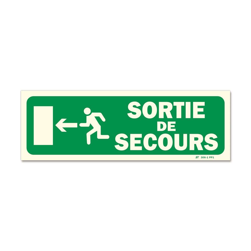 """Panneau évacuation """"sortie secours"""" + picto porte gauche photoluminescent"""