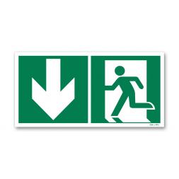 Panneau évacuation picto porte gauche descente