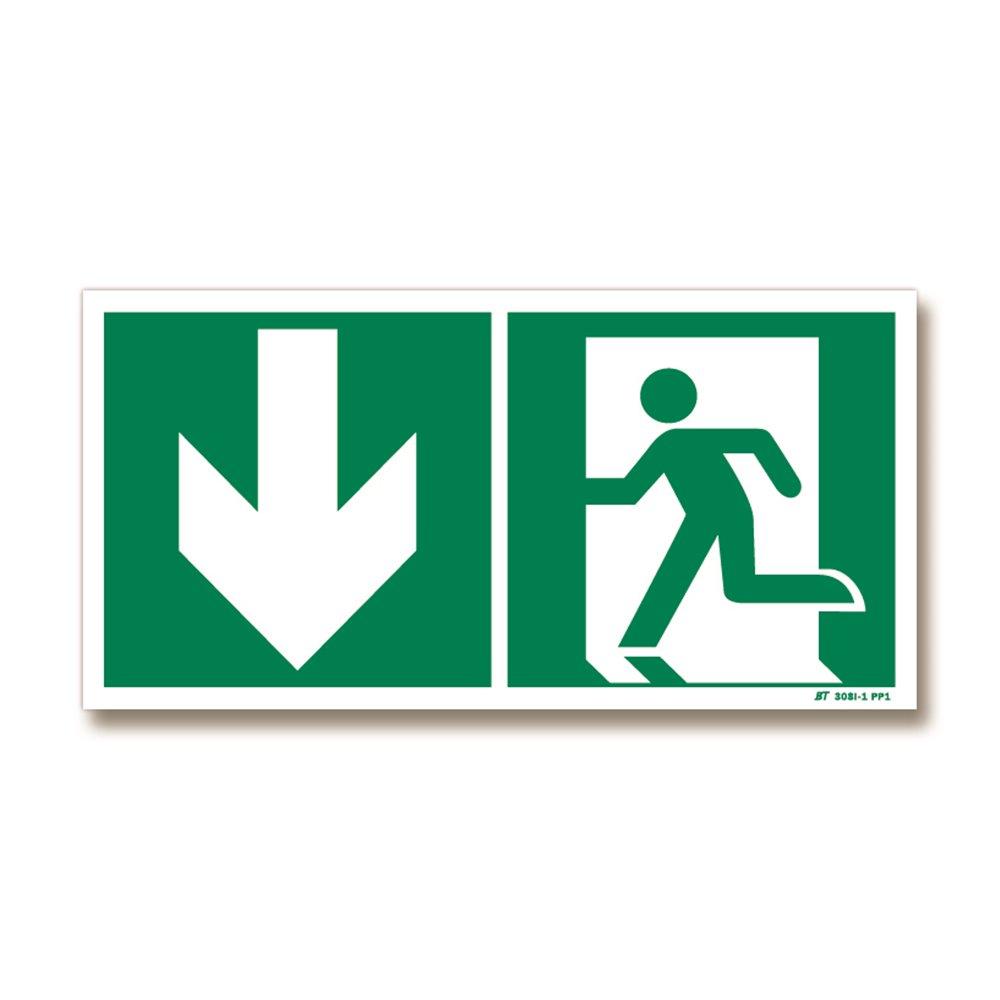 Panneau évacuation flèche bas + picto porte gauche