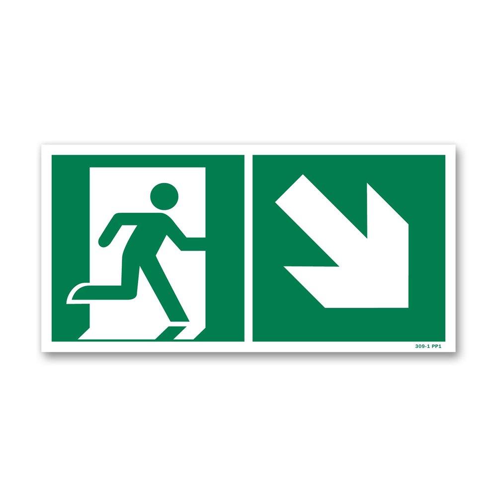Panneau évacuation picto escalier droite descente photoluminescent