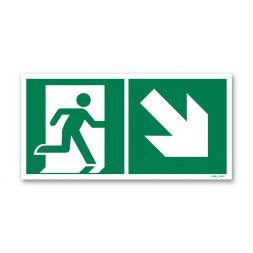 Panneau évacuation picto escalier droite descente