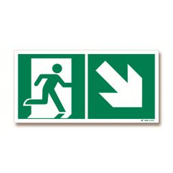Panneau évacuation picto porte droite + flèche bas droite