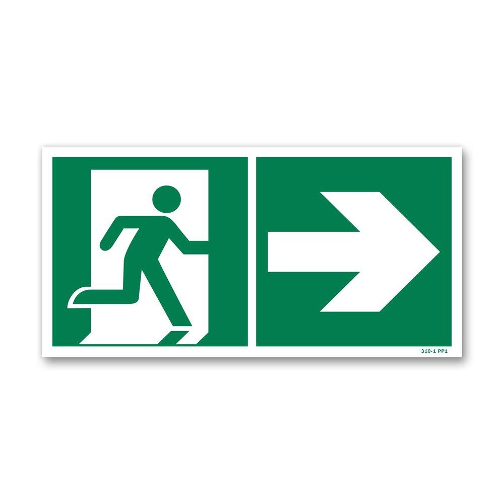 Panneau évacuation picto vers porte droite photoluminescent