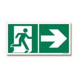 Panneau évacuation picto porte droite + flèche droite