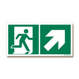 Panneau évacuation picto porte droite + flèche haut droite