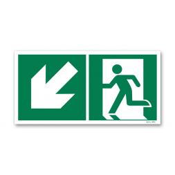 Panneau évacuation picto escalier gauche descente photoluminescent