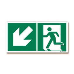 Panneau évacuation flèche bas gauche + picto porte gauche