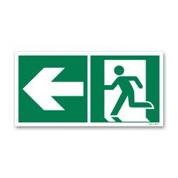 Panneau évacuation picto vers porte gauche photoluminescent