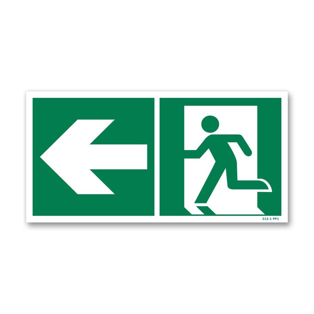 Panneau évacuation picto vers porte gauche