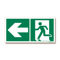 Panneau évacuation flèche gauche + picto porte gauche