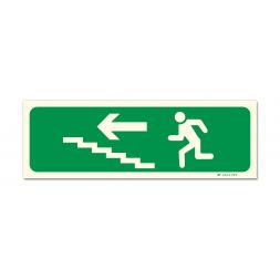 Panneau évacuation picto escalier gauche montée photoluminescent