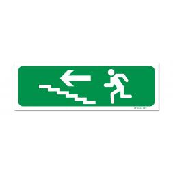 Panneau évacuation picto escalier gauche montée