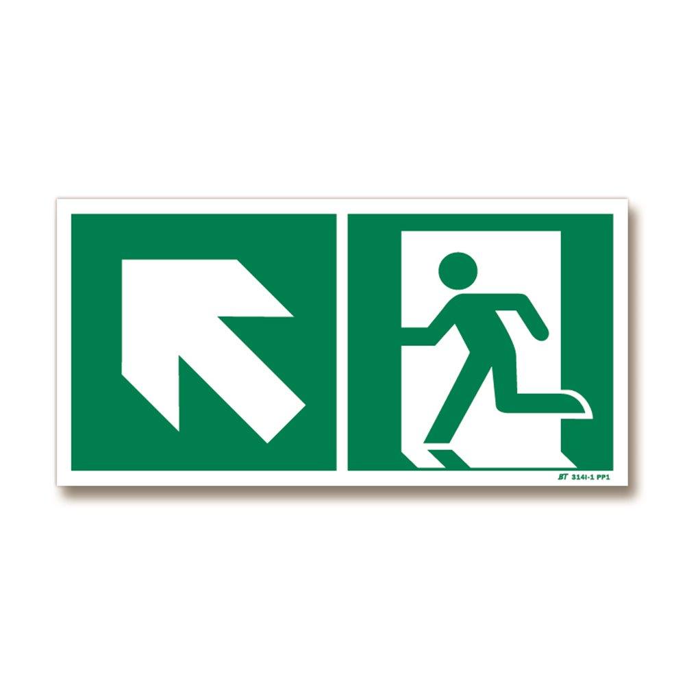 Panneau évacuation flèche haut gauche + picto porte gauche