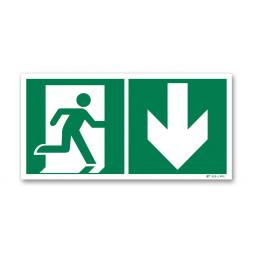 Panneau évacuation picto porte droite descente