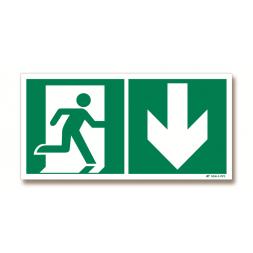 Panneau évacuation picto porte droite + flèche bas