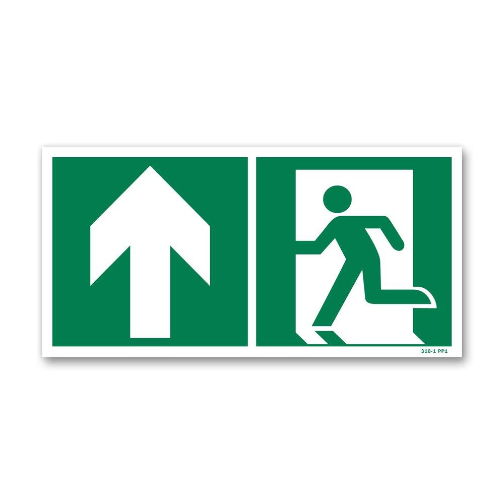 Panneau évacuation picto porte gauche montée photoluminescent