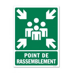 """Panneau évacuation picto """"point de rassemblement"""" vertical"""