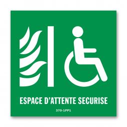 Panneau évacuation espace d'attente sécurisée