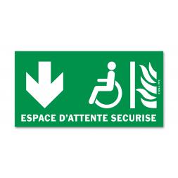 Panneau évacuation espace d'attente sécurisé bas