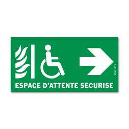 Panneau évacuation espace d'attente sécurisé droite