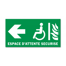 Panneau évacuation espace d'attente sécurisé gauche