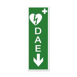 """Panneau évacuation picto défibrillateur """"DAE"""" flèche bas"""