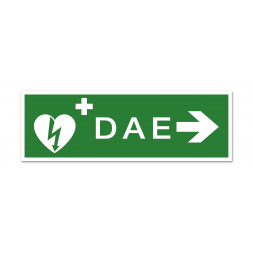 """Panneau évacuation picto défibrillateur """"DAE"""" flèche droite"""