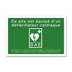"""Panneau évacuation picto défibrillateur """"site equipe DAE"""""""