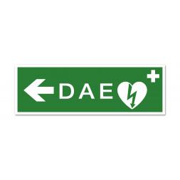"""Panneau évacuation picto défibrillateur """"DAE"""" flèche gauche"""