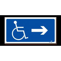 Panneau signalisation picto handicapé + flèche droite