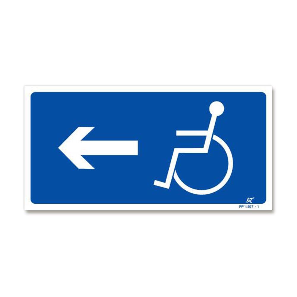 Panneau signalisation picto handicapé + flèche gauche