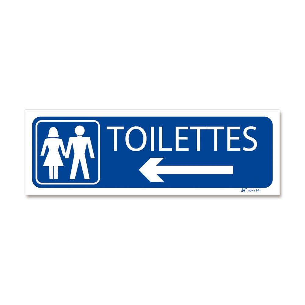 """Panneau signalisation picto """"toilettes"""" + flèche gauche"""