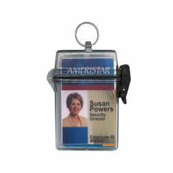 boitier etanche transparent avec anneau carte identite