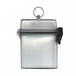 Boitier étanche transparent pour pièces d'identité avec anneau
