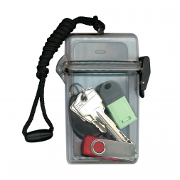 objets dans boitier vide poches etanche transparent avec cordon