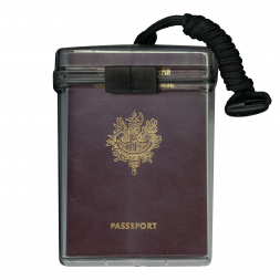 waterproof red passport holder with lanyard en