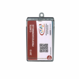 badge card on transparent badge holder case en