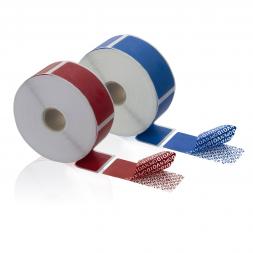deux scelles adhesives temoin anti effraction rouge & bleu