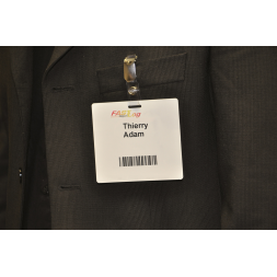 self adhesive access badge on jacket en