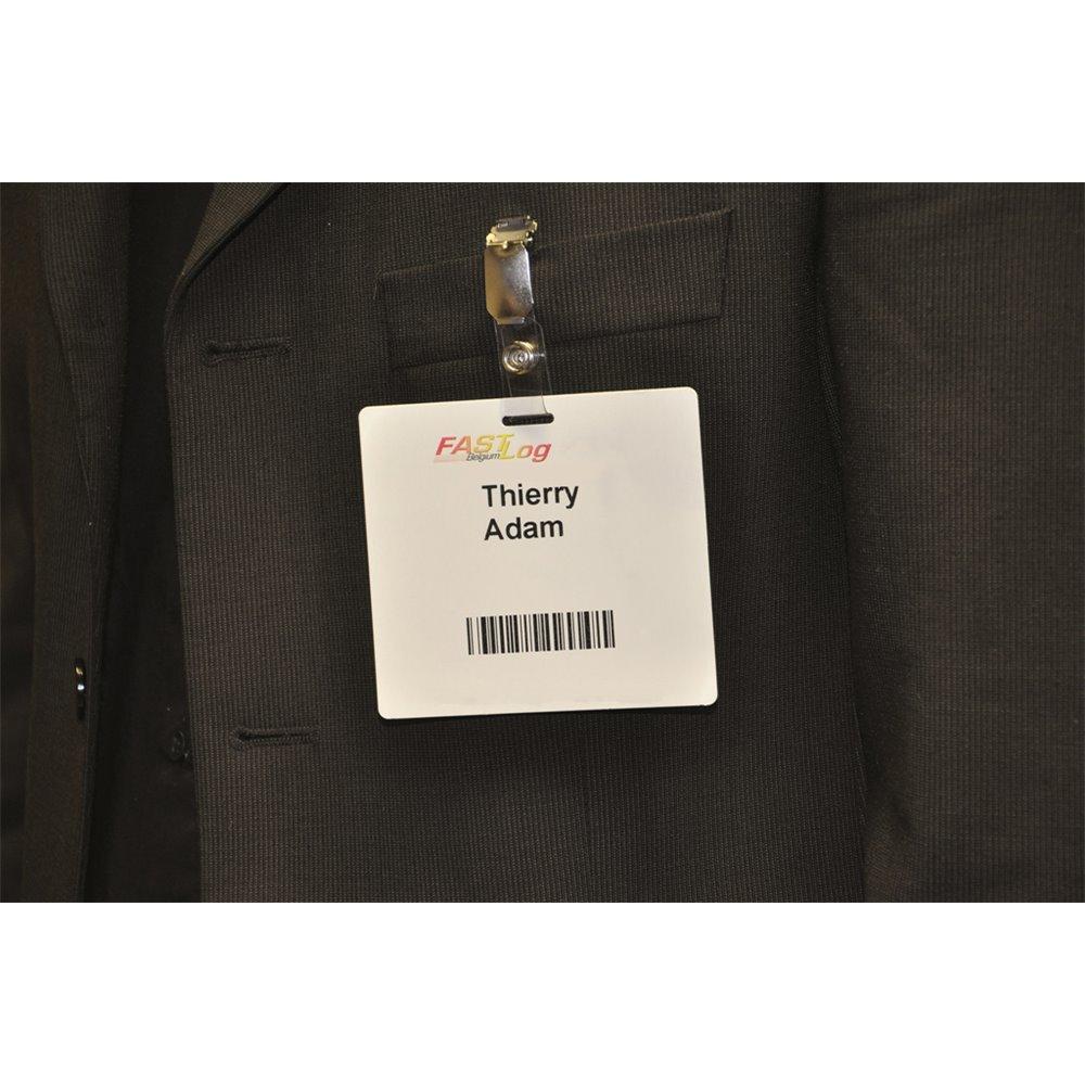 self adhesive access badge on jacket en