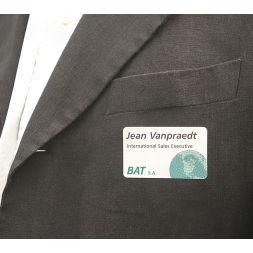 a4 satin laserlab visitor access badge on jacket