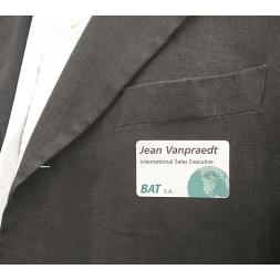 badge visiteur vierge satin laserlab a4 sur veste