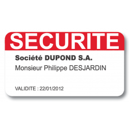 personnalised satin laserlab visitor access badge securite en