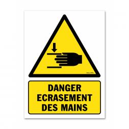 Panneau indication danger écrasement des mains