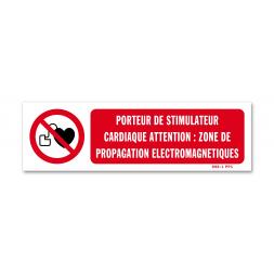 """Panneau avertissement picto """"porteur de simulateur cardiaque attention"""""""