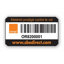custom extremely adhesive asset tag orange barcode en