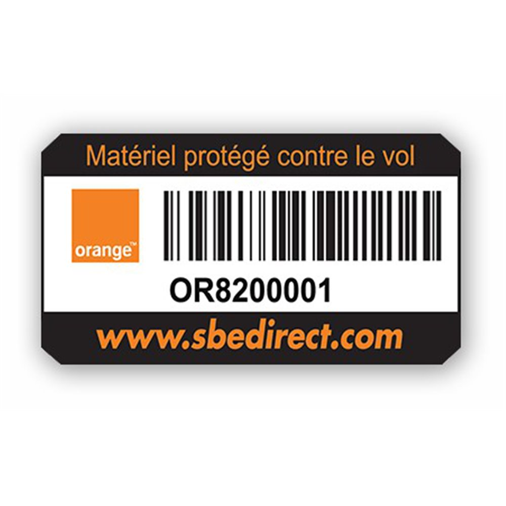 plaque protegee adhesive extreme personnalise orange code barre