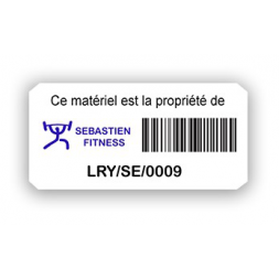 custom extremely adhesive asset tag sebatien fitness barcode en