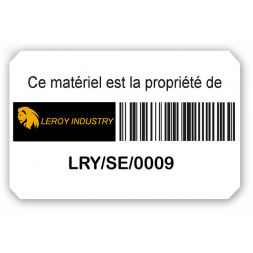 plaque protegee adhesive logo loroy industry code barre